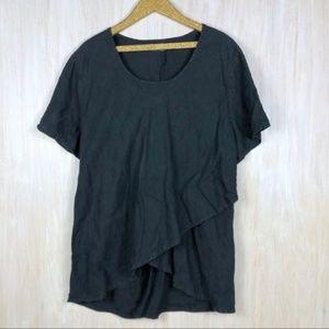 FLAX Black Linen Tiered Bottom Short Sleeve Shirt